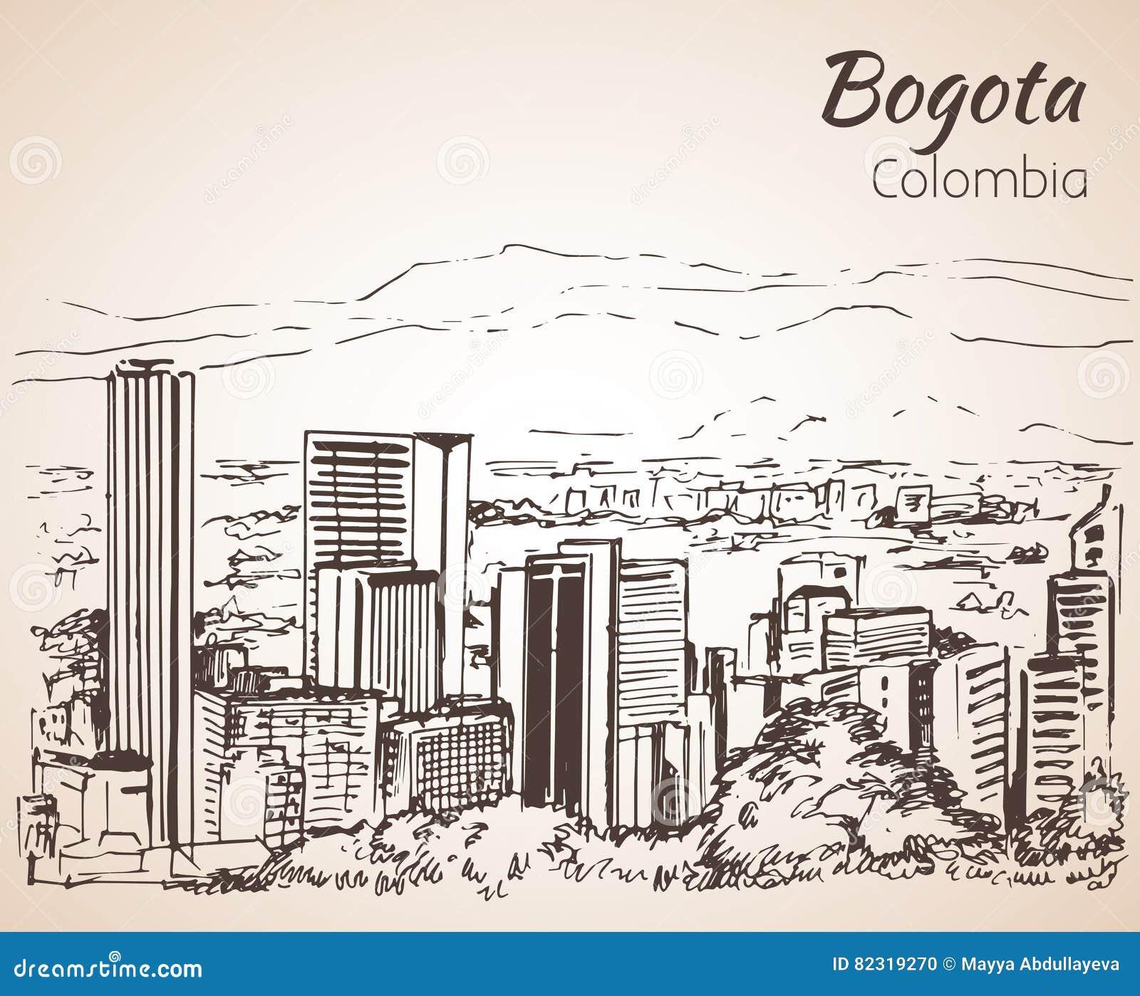 Vista panorámica de Bogotá bosquejo
