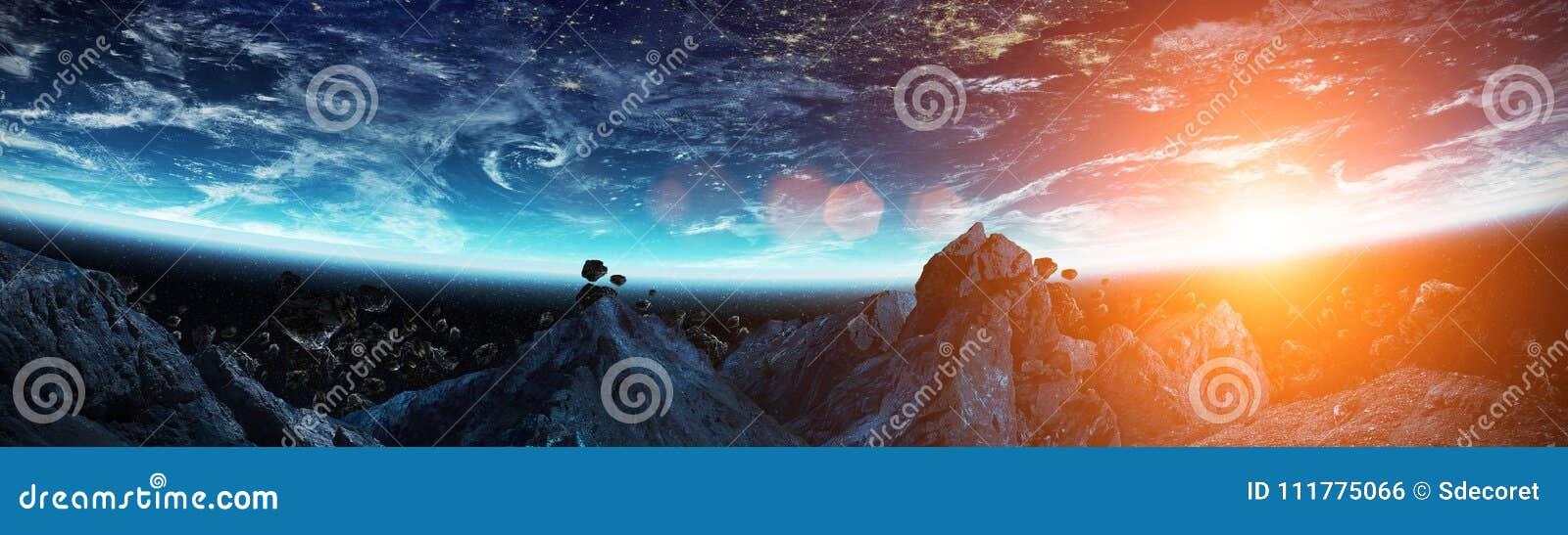 Vista panorámica de la tierra del planeta con los asteroides que vuelan 3D cercano con referencia a