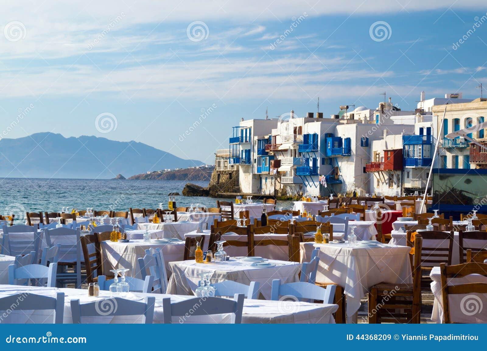 Vista panorámica de poca Venecia en la isla de Mykonos