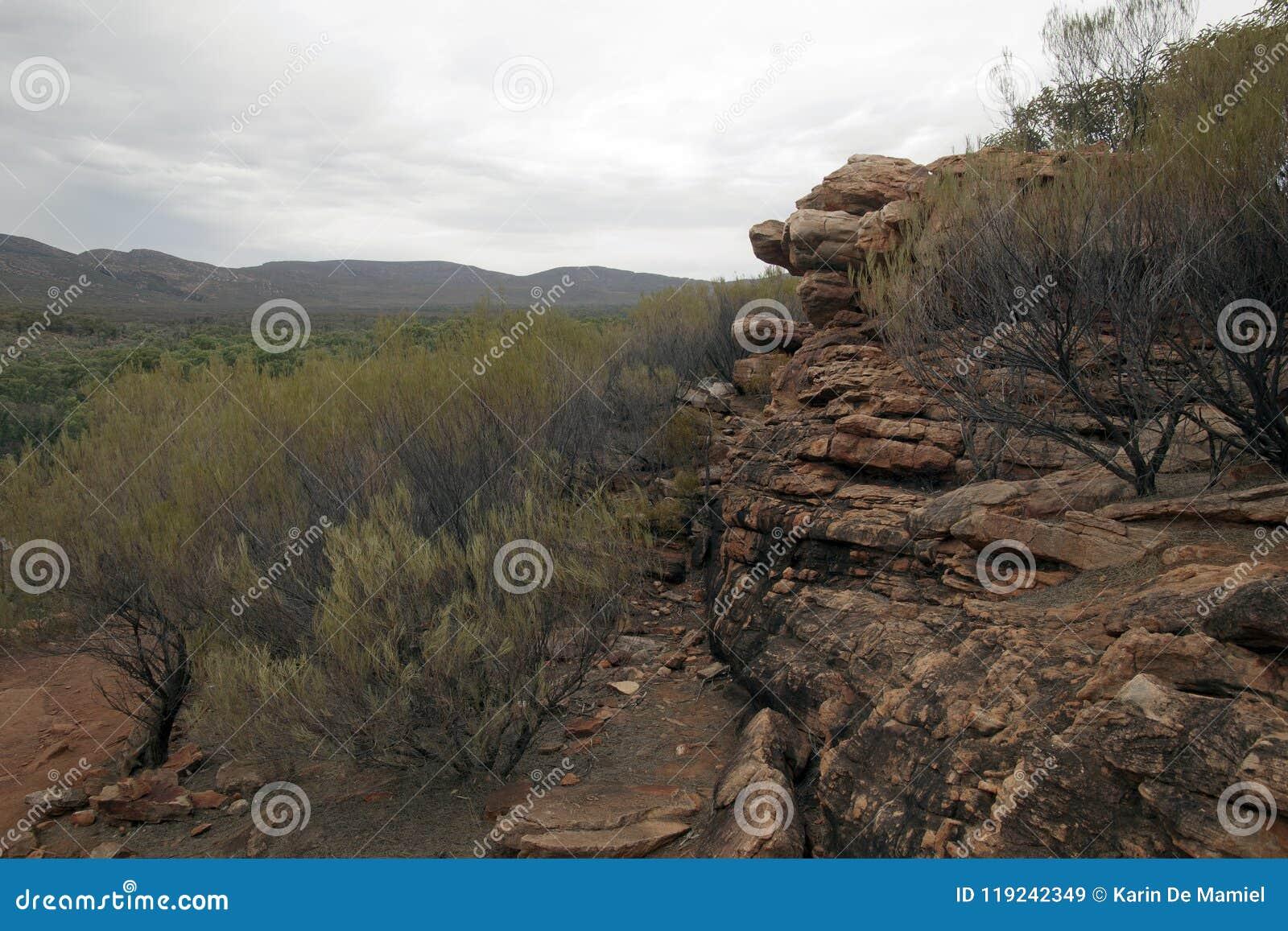 Vista panorámica del afloramiento rocoso de la libra en primero plano