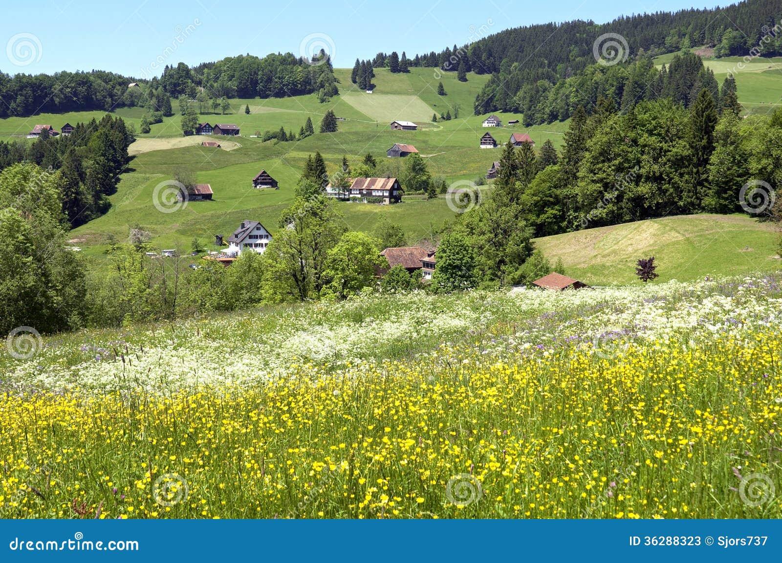 Vista panorámica del pueblo de montaña suizo en las montañas