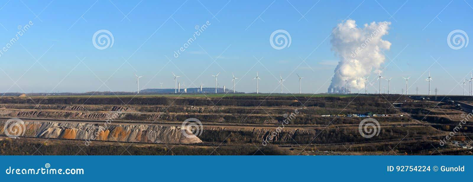 Vista panorâmica aberta - molde a mineração, o central elétrica e as energias eólicas