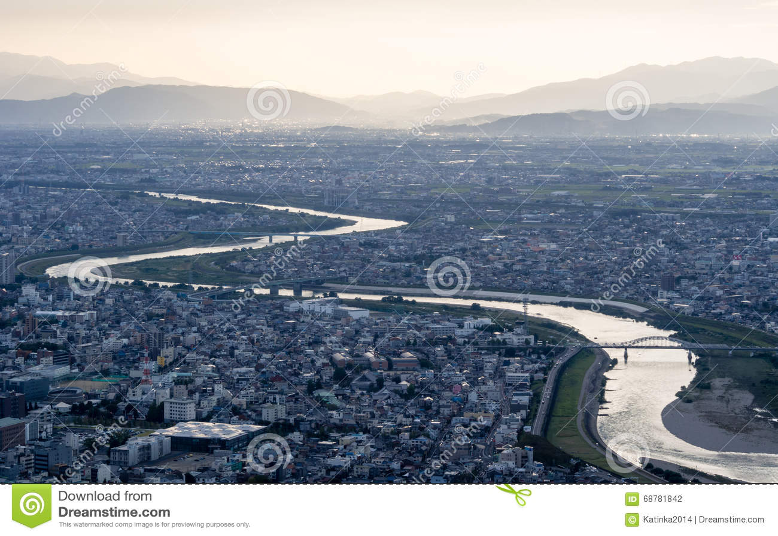 Vista panorâmica da cidade de Gifu, Japão