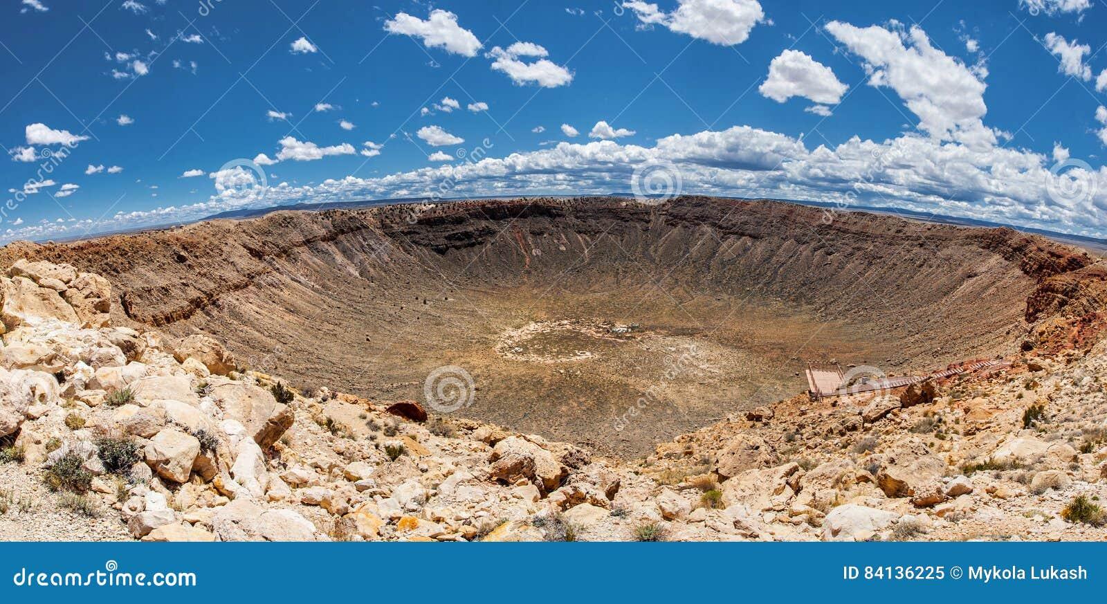 Vista panorâmica da cratera do meteoro, em Winslow, o Arizona, EUA