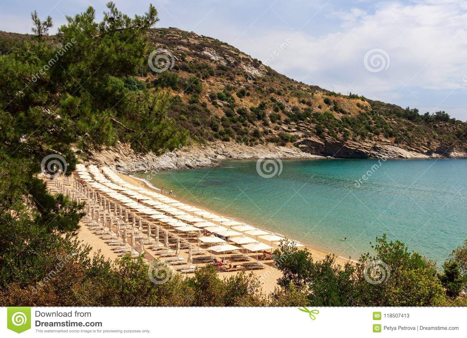 Vista panorâmica da praia em Grécia