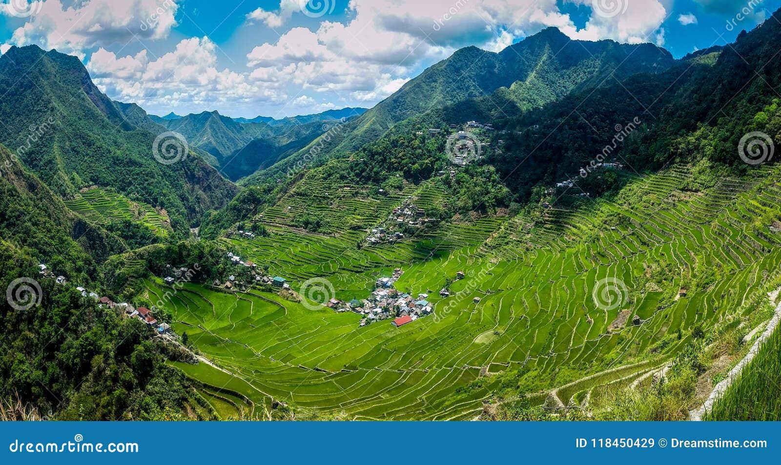 Vista panorâmica de terraços do arroz