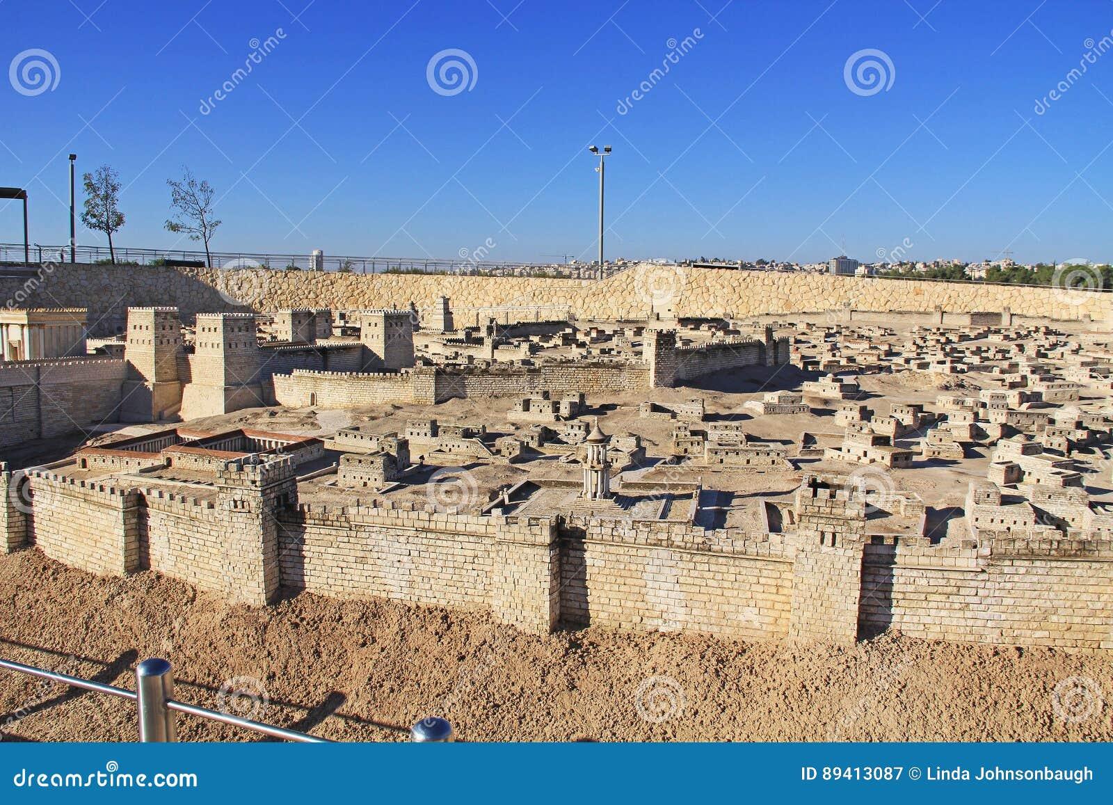 Vista panorâmica do modelo do Jerusalém antigo
