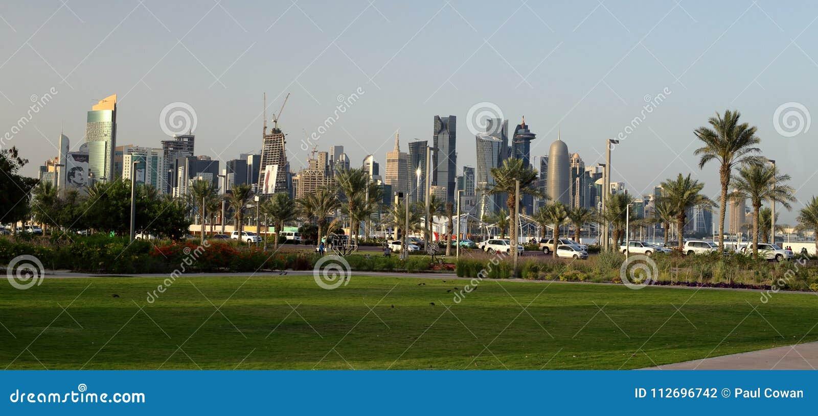 Vista panorâmica do parque de Bidda em Doha