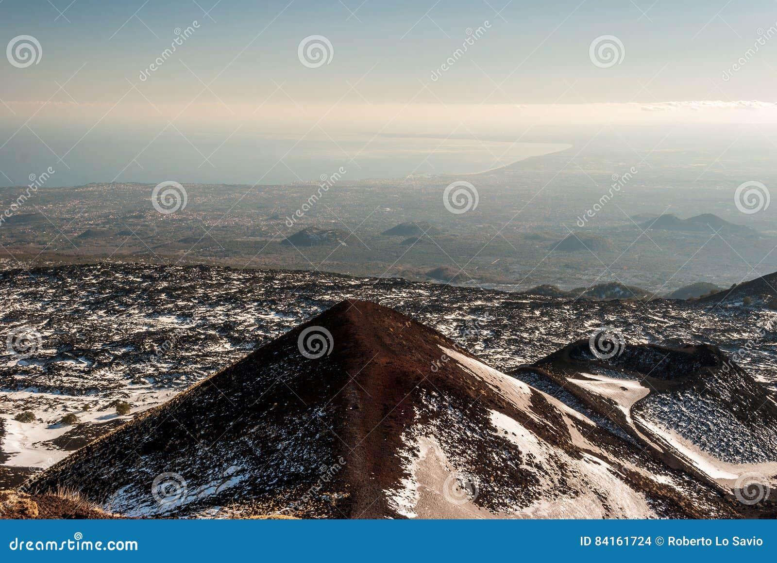 Vista panoramica del golfo di Catania visto dal vulcano Etna