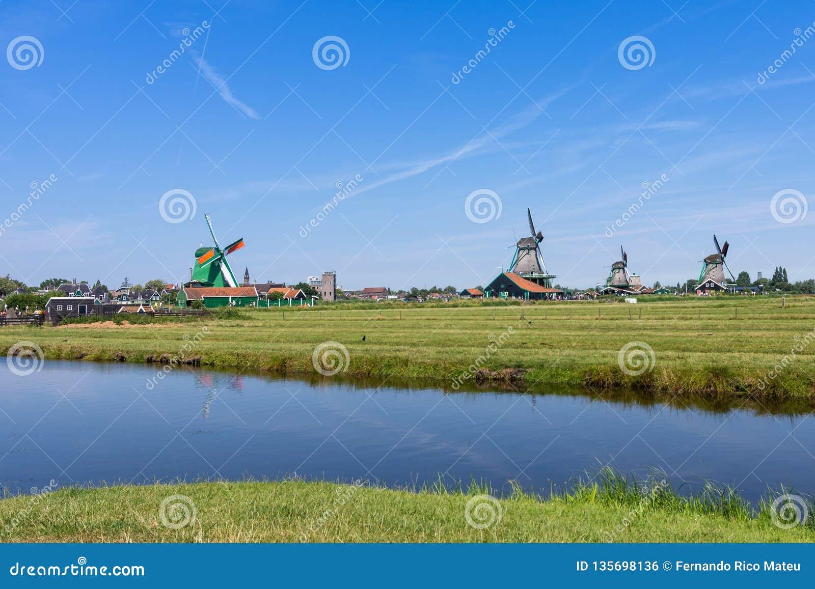 Vista panoramica del prato verde con i mulini a vento in Zaanse Schans, Paesi Bassi