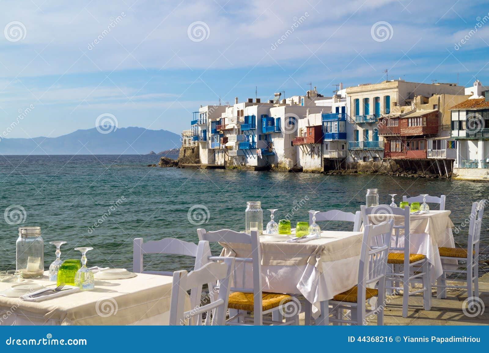 Vista panoramica di poca Venezia sull isola di Mykonos