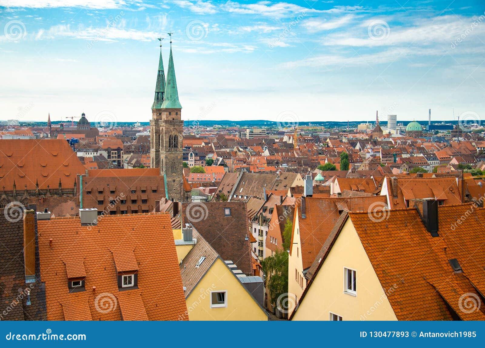Vista panoramica di vecchia città storica di Norimberga Nurnberg, Germa