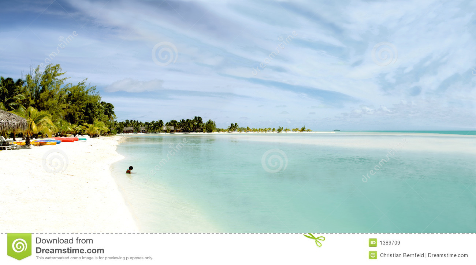 Vista panoramica enorme della laguna di Aitutaki