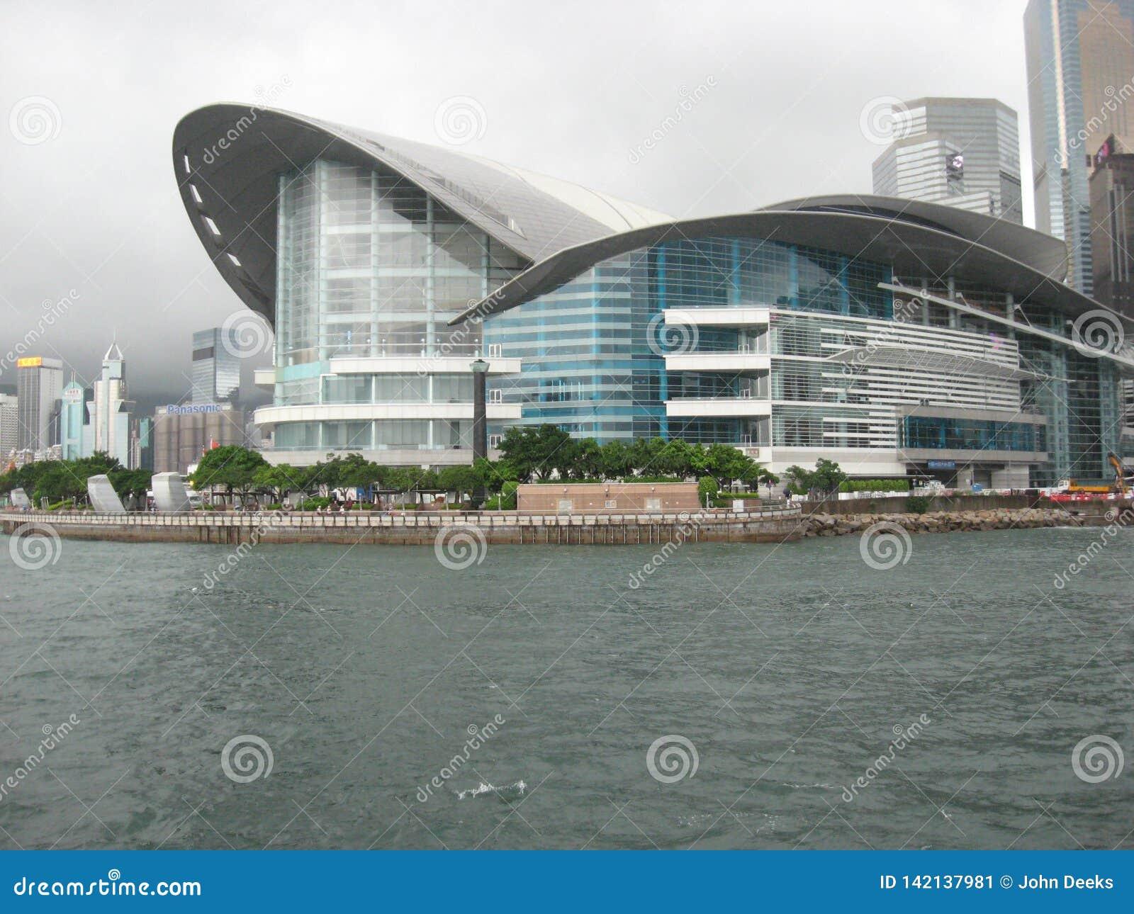 Vista para o centro de Hong Kong Convention e de exposição