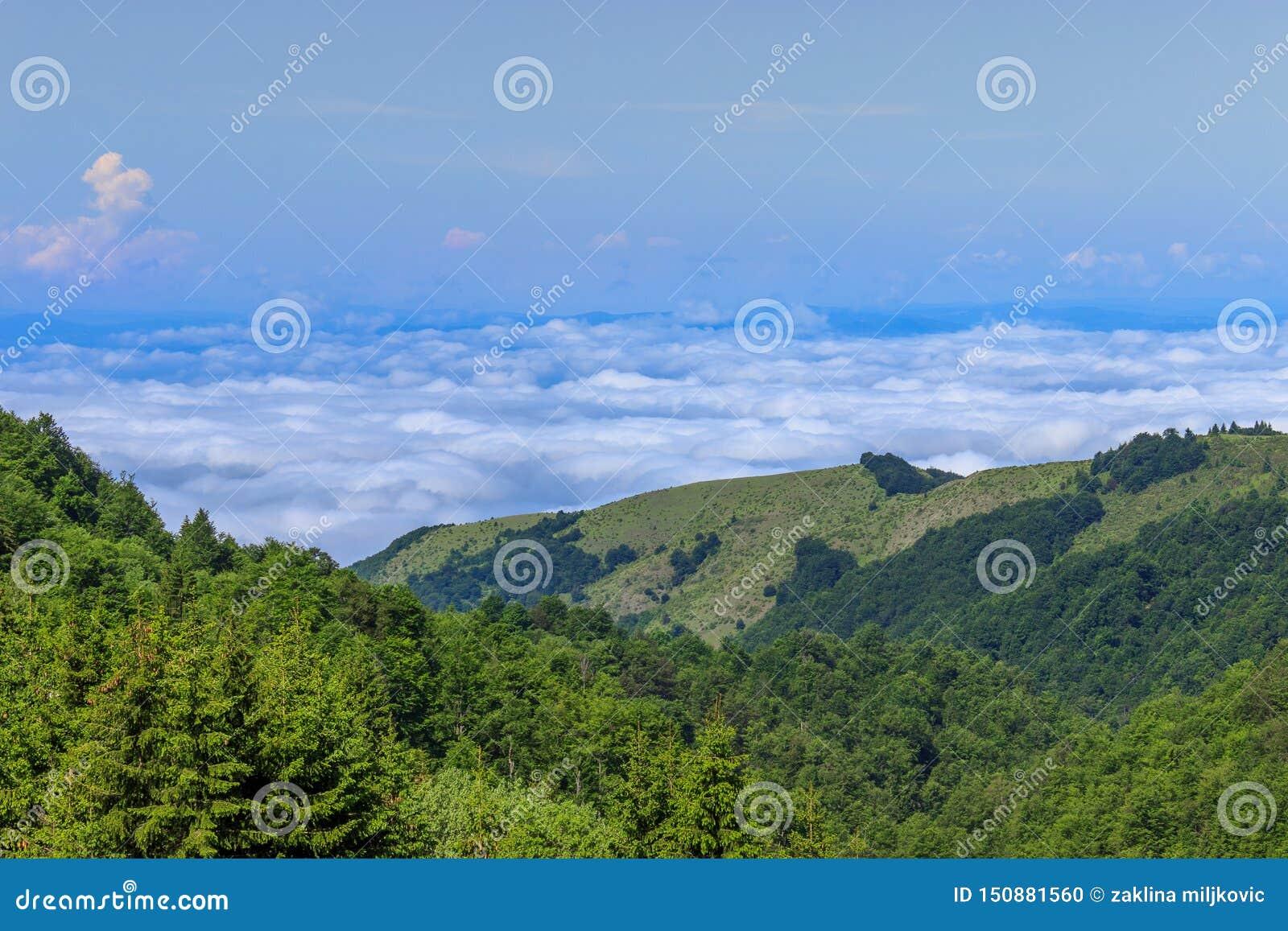 Vista pitoresca dos montes verdes, do céu azul e das nuvens grossas