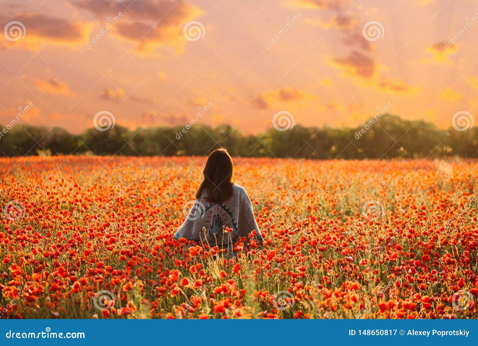 Vista posterior de la mujer que camina en prado de la amapola en la puesta del sol