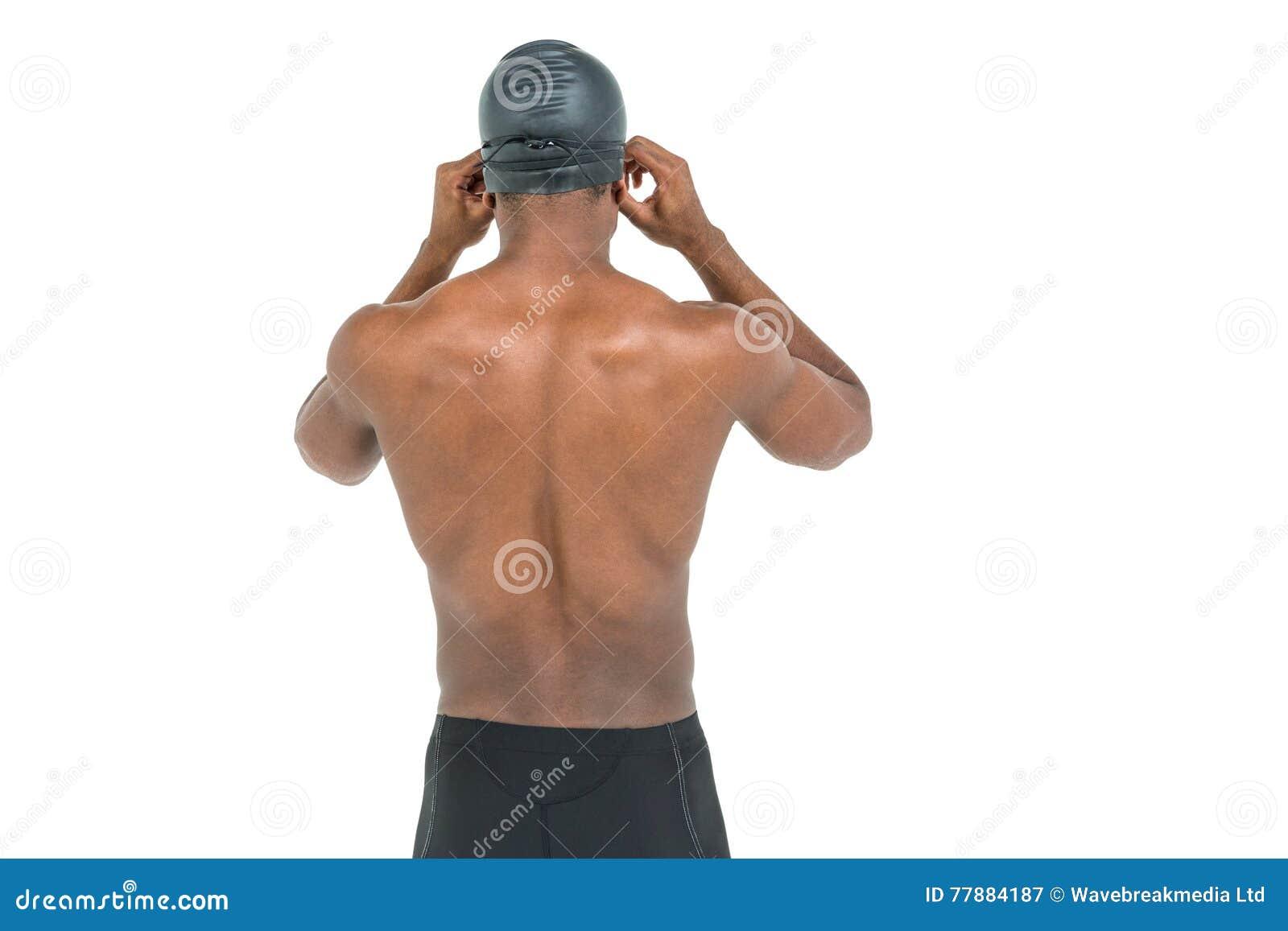 Vista Posterior Del Nadador En Gafas Descamisadas Del Swimmingque Llevan Foto de archivo