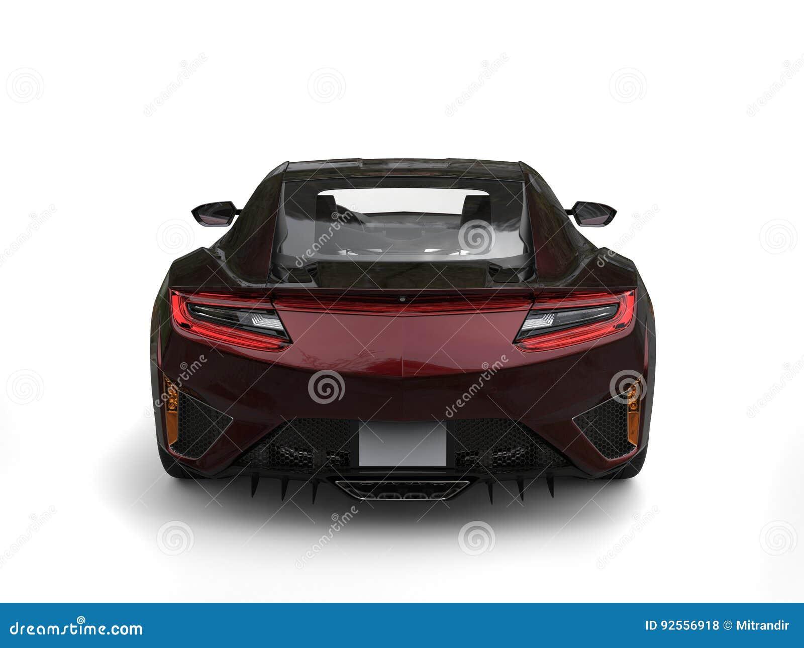 Vista posteriore automobilistica di concetto metallico rosso scuro fresco
