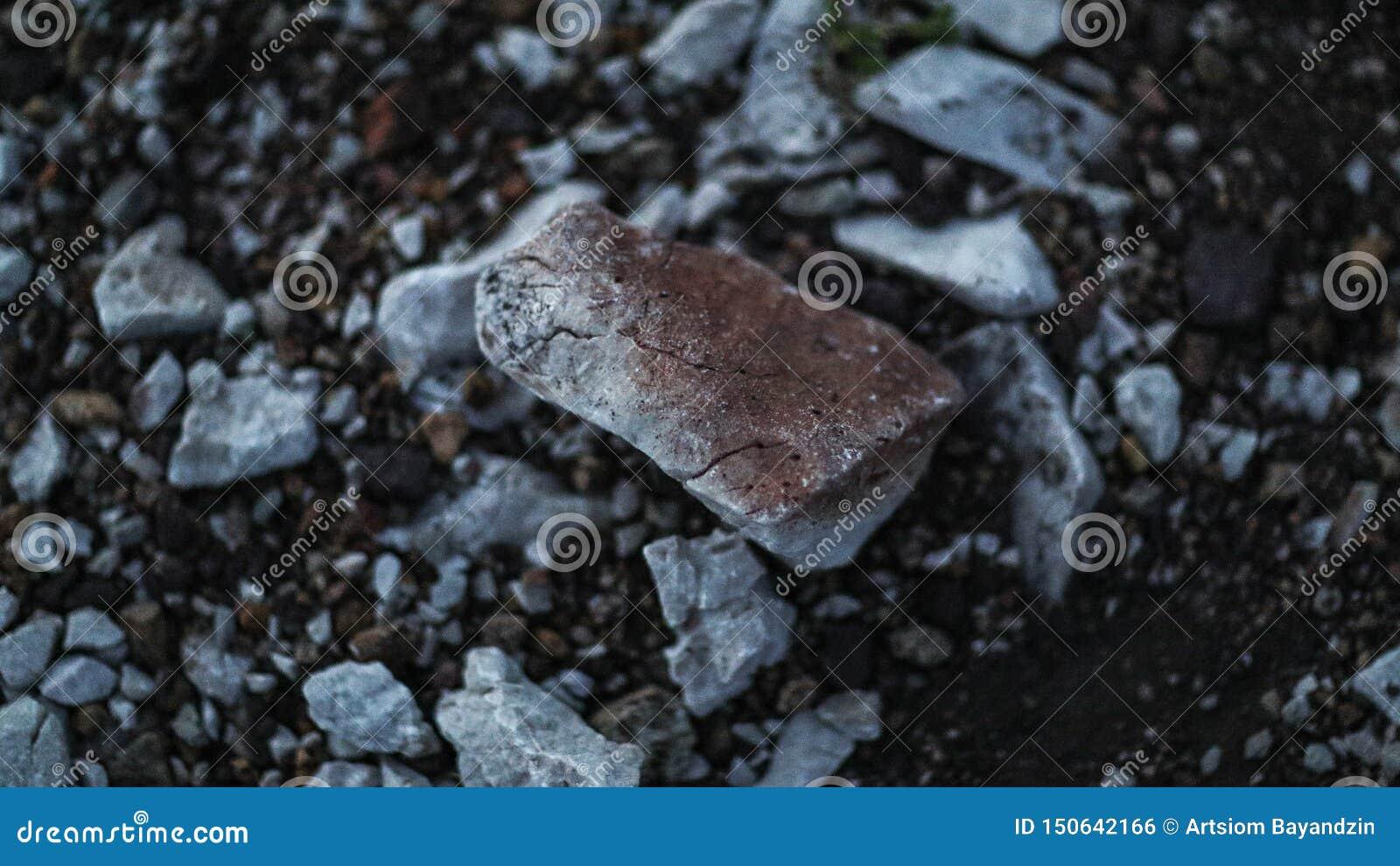 Vista próxima em uma pedra cinzenta e marrom