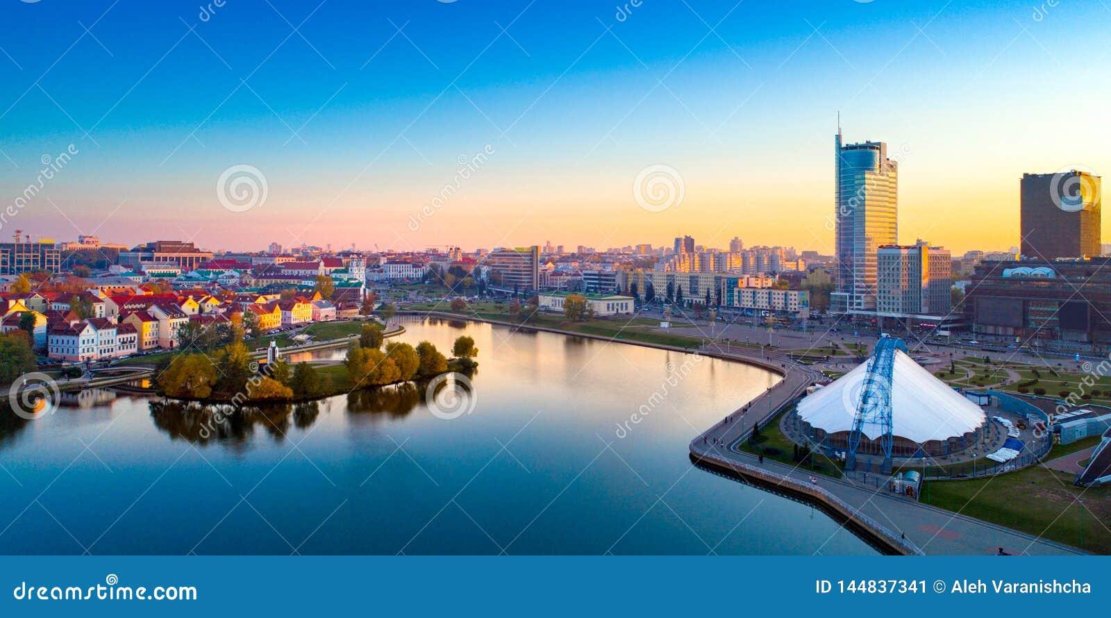 Vista a?rea de Nemiga, Minsk belarus