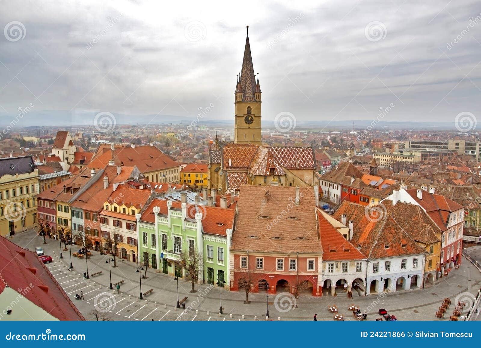 Vista sopra la città di Sibiu in Romania