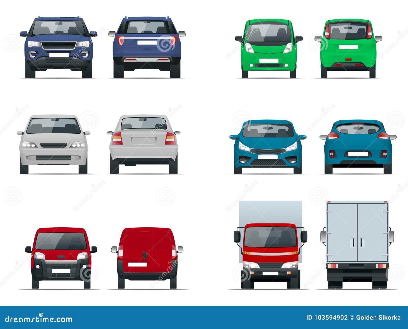 Vista stabilita delle automobili di vettore anteriore e posteriore Berlina, fuori strada, compatta, camion del carico, veicoli in
