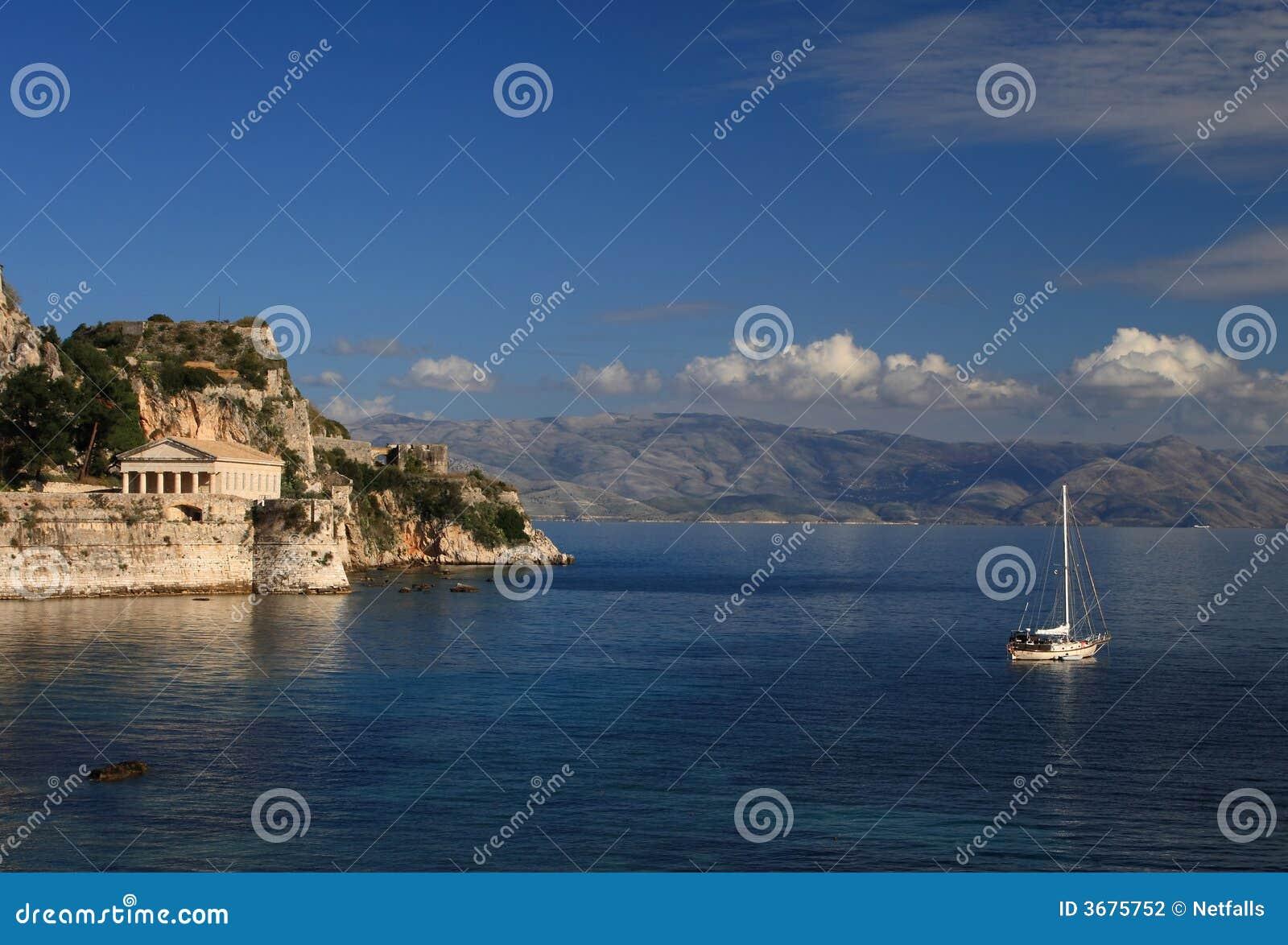 Download Vista su Corfù Grecia fotografia stock. Immagine di esterno - 3675752