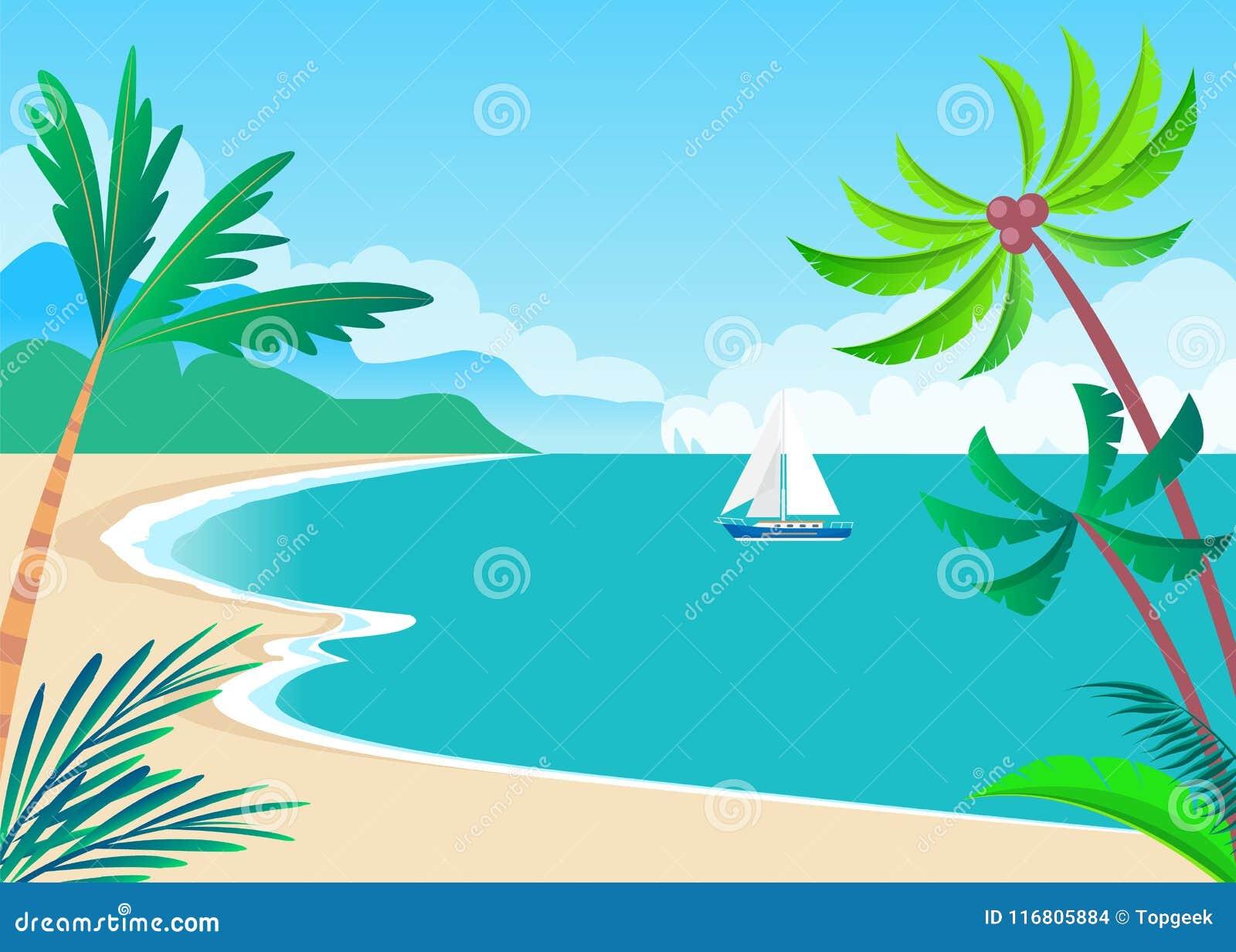 Vista su Sunny Coast con le palme e la nave sveglia