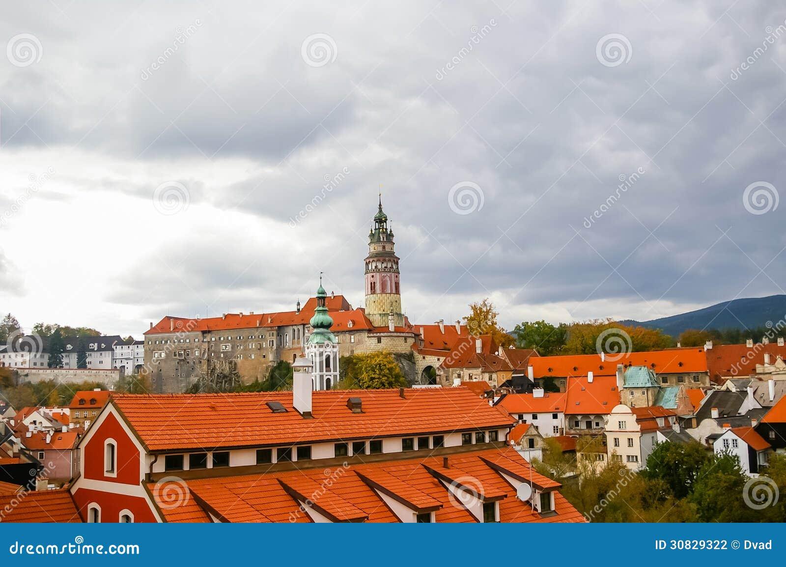 Vista sui tetti rossi in Cesky Krumlov