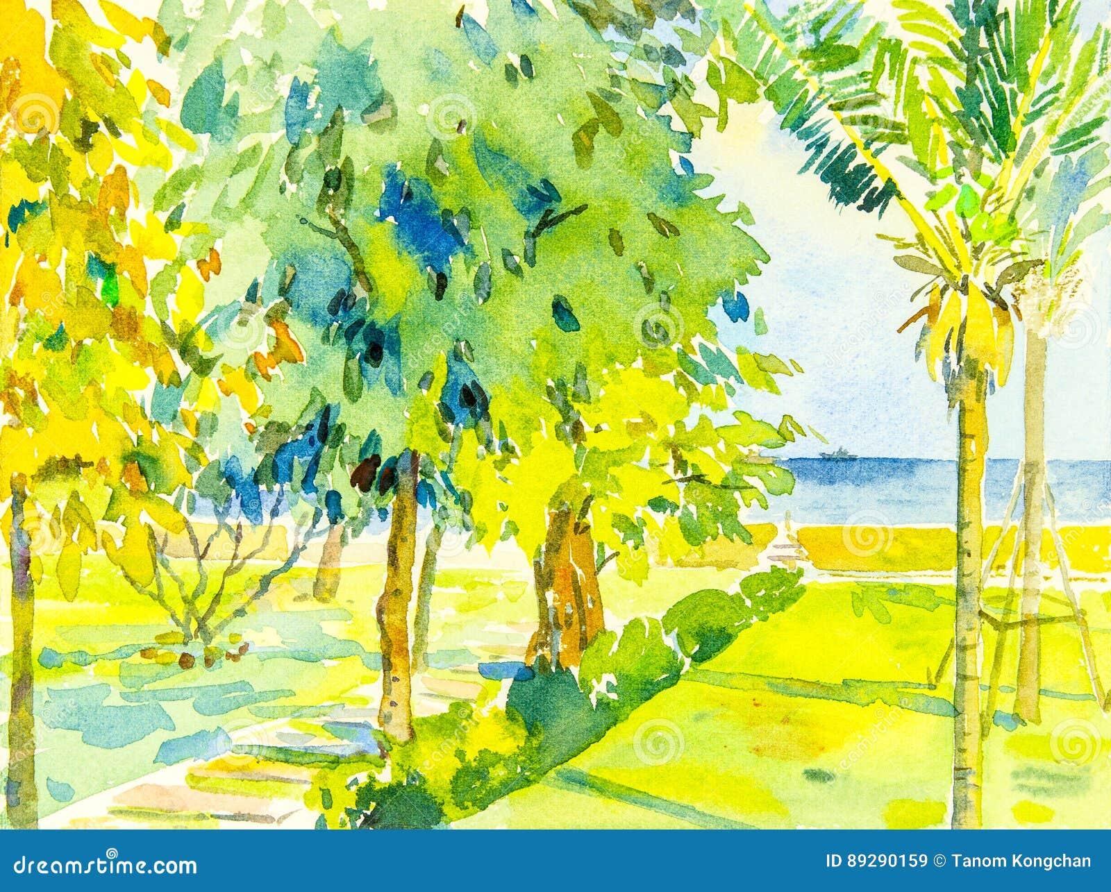 Vista sul mare della pittura variopinta del mare e giardino verde ed emozione
