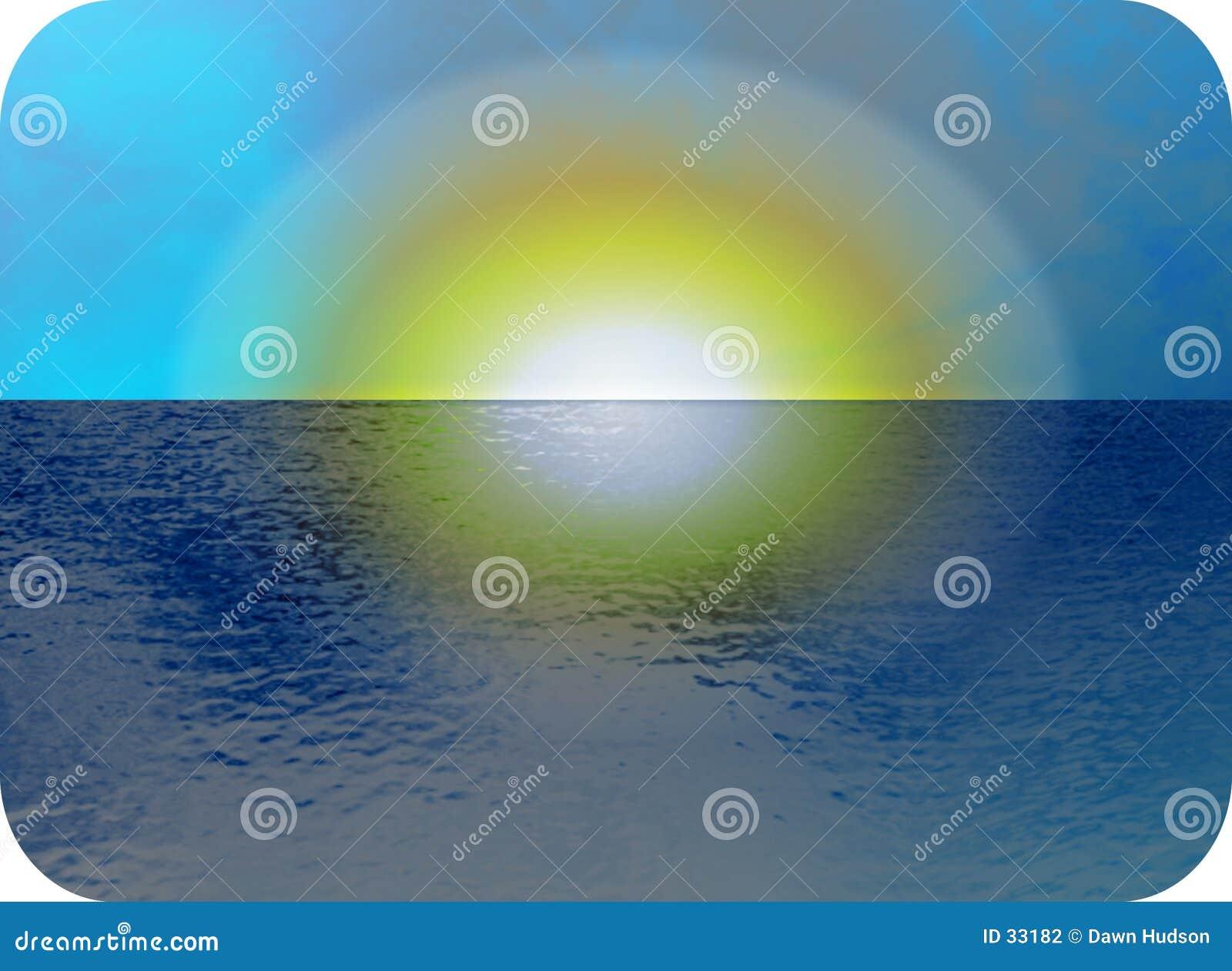 Vista sul mare di tramonto