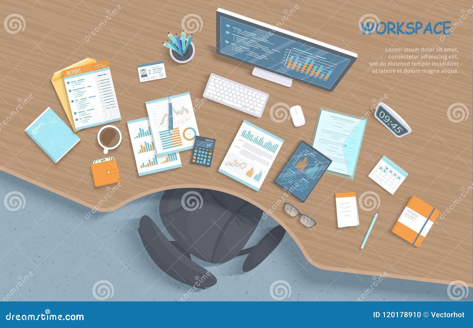 Vista superior da mesa de madeira à moda moderna no escritório, cadeira, materiais de escritório, originais Local de trabalho do