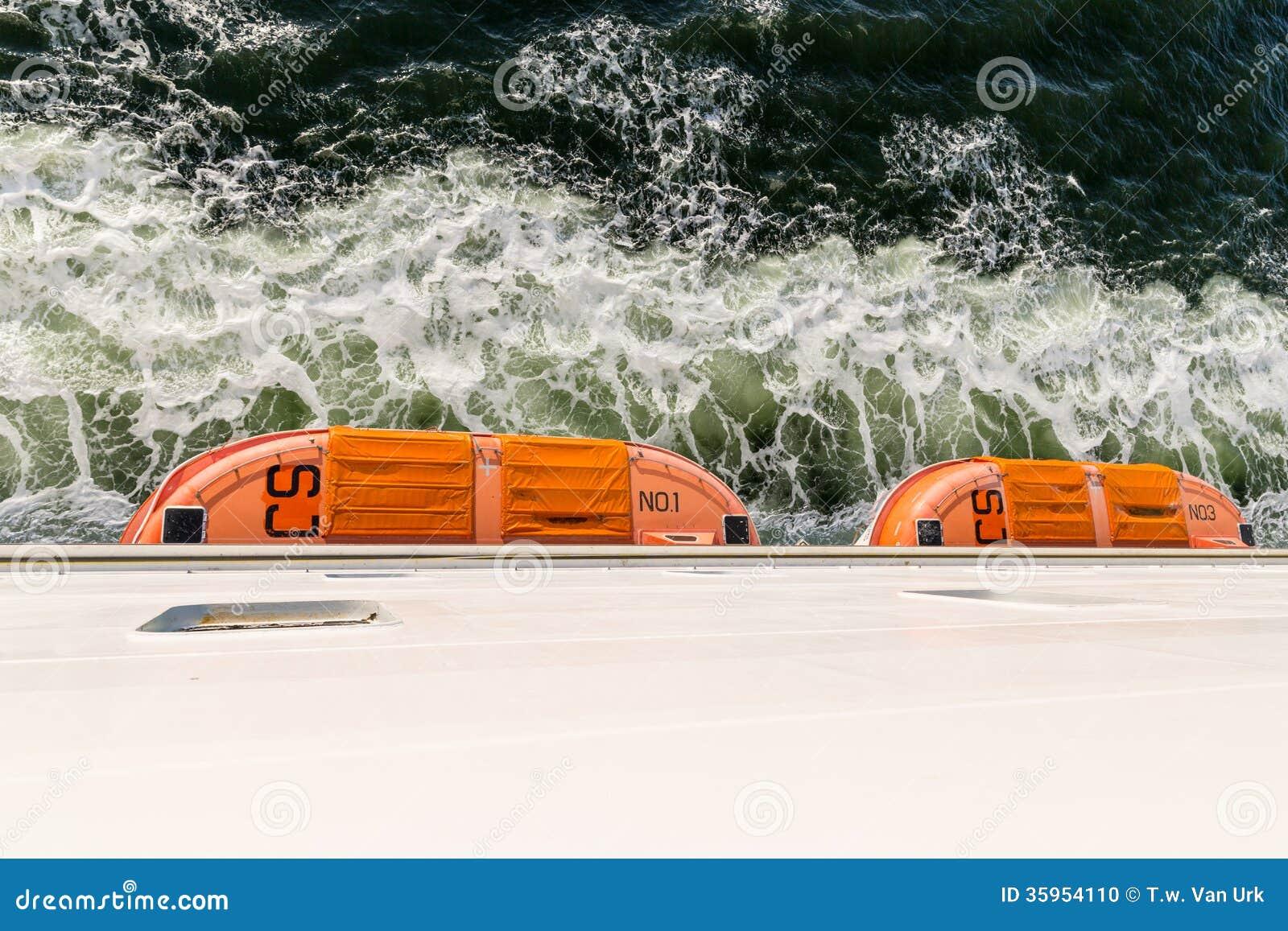 Vista superior de botes salvavidas en un transbordador grande