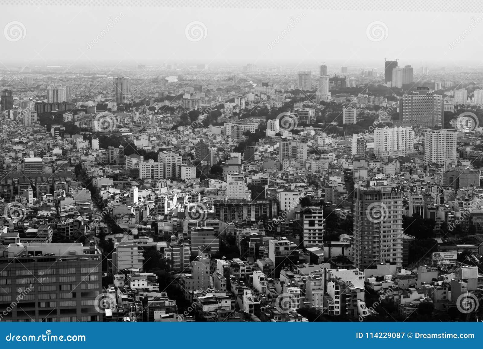 Vista superior de la ciudad de Ho Chi Minh en Vietnam