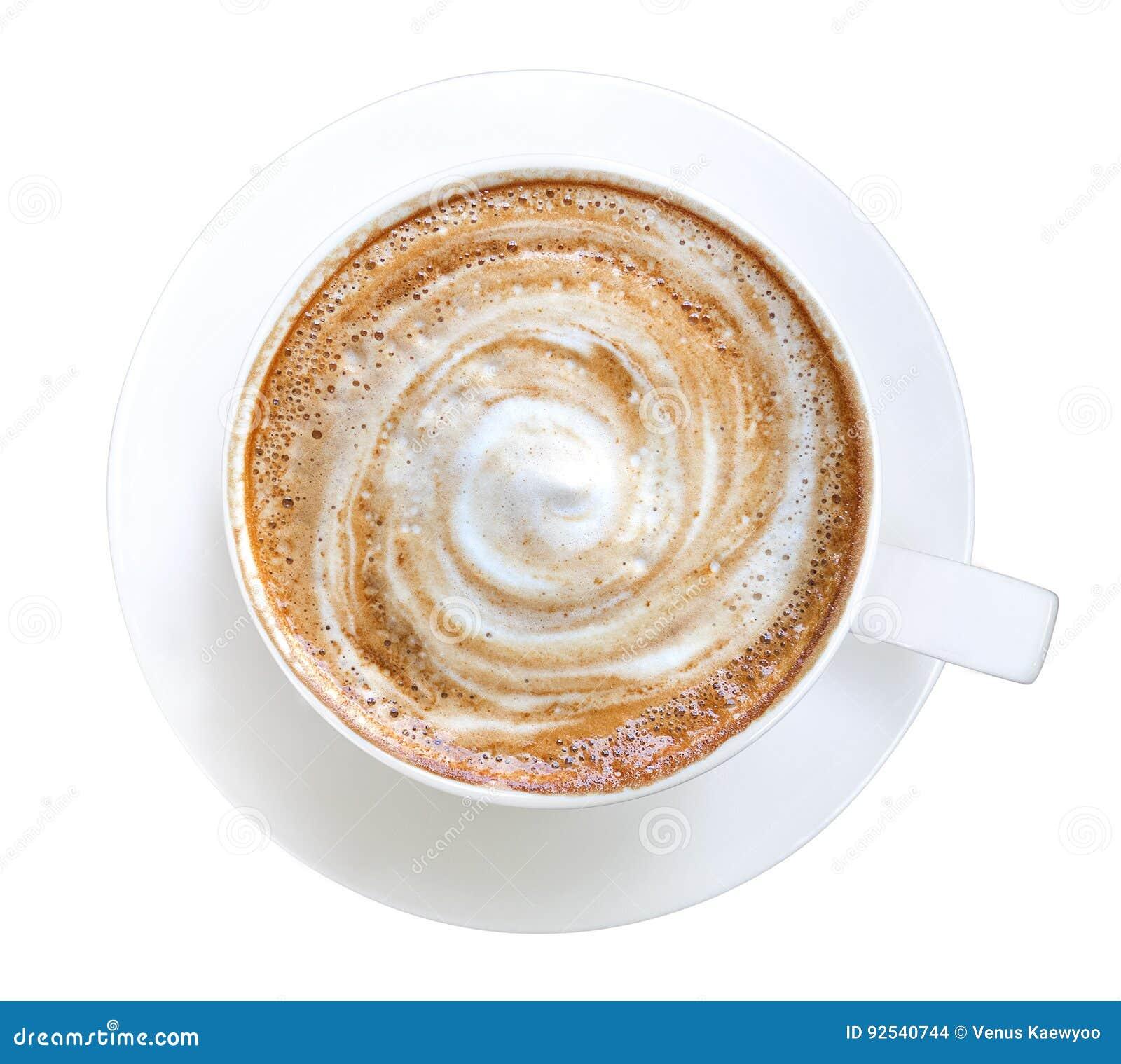 Vista superior de la espuma caliente del espiral del capuchino del latte del café aislada en el fondo blanco, trayectoria