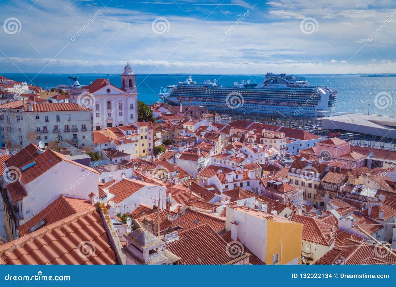 Vista superior de Lisboa com céu azul