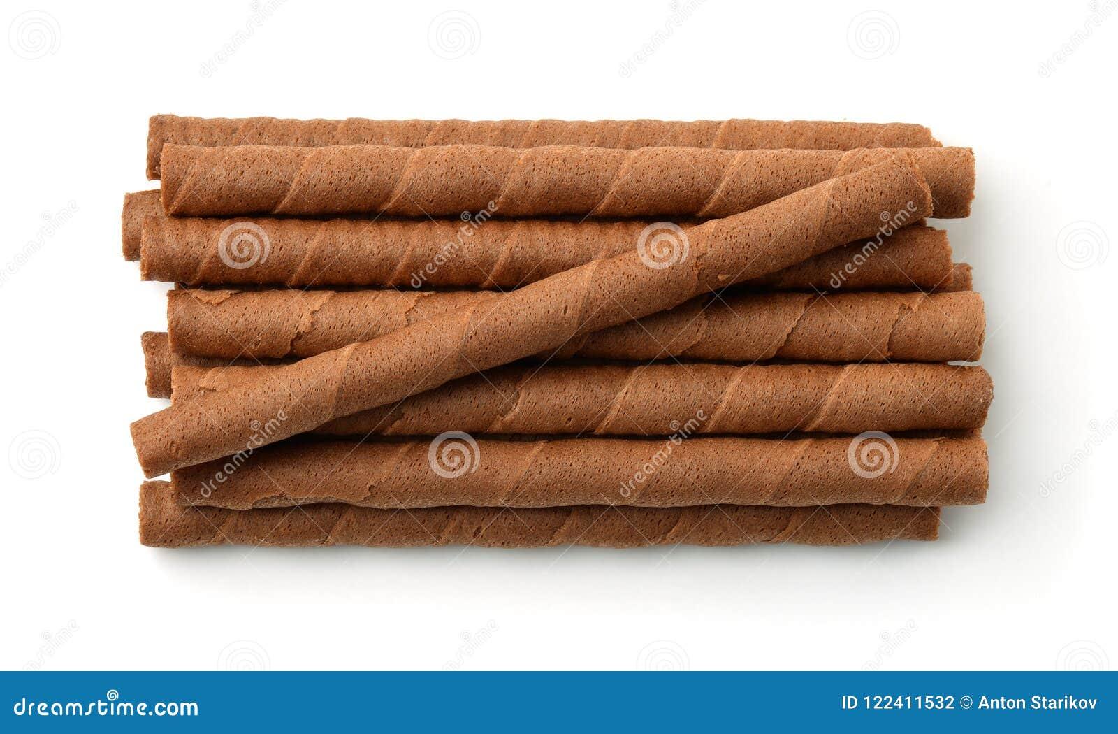Vista superior de los rollos de la oblea del chocolate