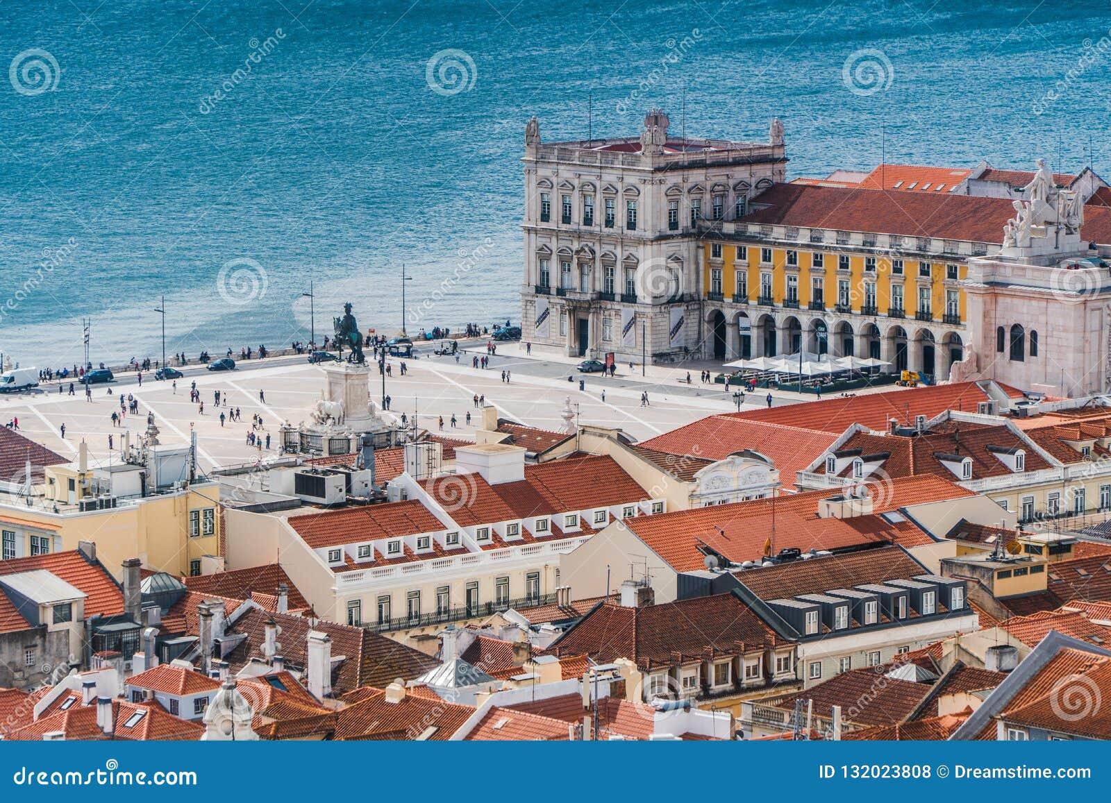 A vista superior de Praça faz Comércio - Lisboa