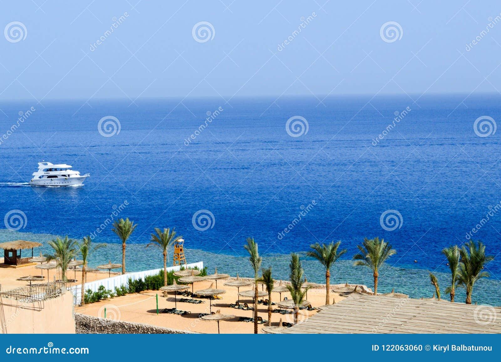 Vista superior de um Sandy Beach com sunbeds e guarda-sóis e de dois grandes navios brancos, um barco, um forro do cruzeiro que f