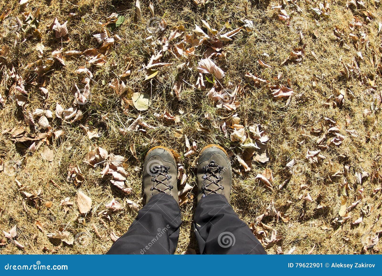 Vista superior de uma bota de caminhada na grama e na folha do outono
