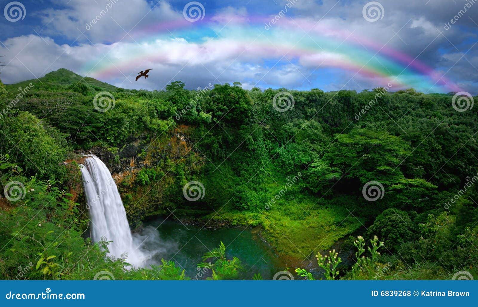 Vista superior de uma cachoeira bonita em Havaí