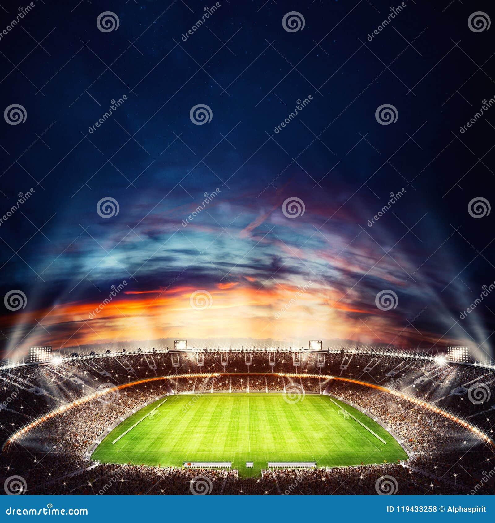 Vista superior de un estadio de fútbol en la noche con las luces encendido representación 3d