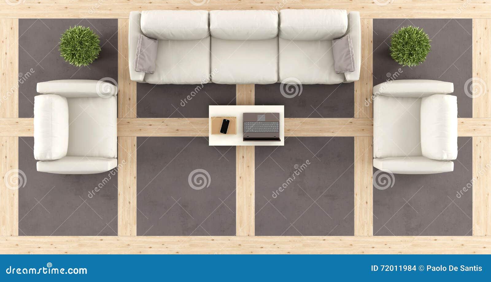 Vista superior de una sala de estar moderna stock de for Sala de estar vista desde arriba