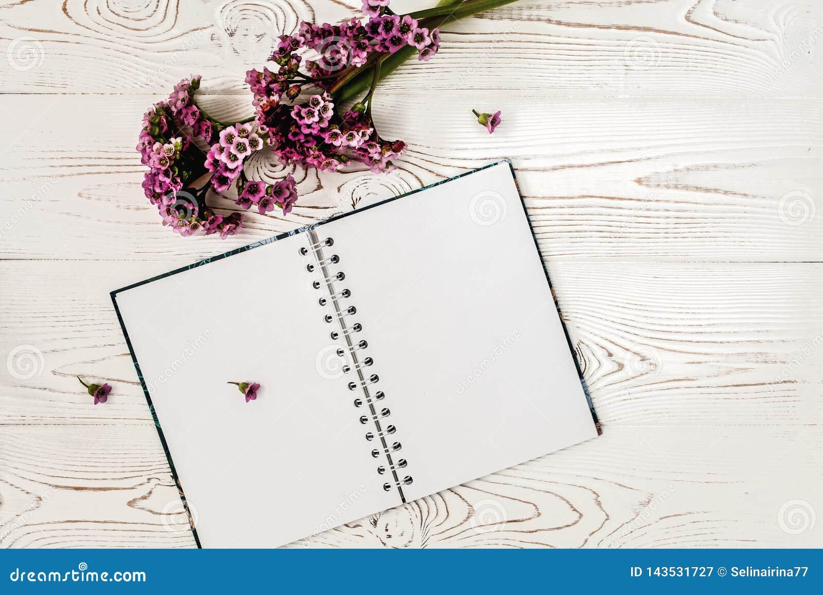 Vista superior del diario o cuaderno en blanco y flor púrpura en la tabla de madera blanca Dise?o plano