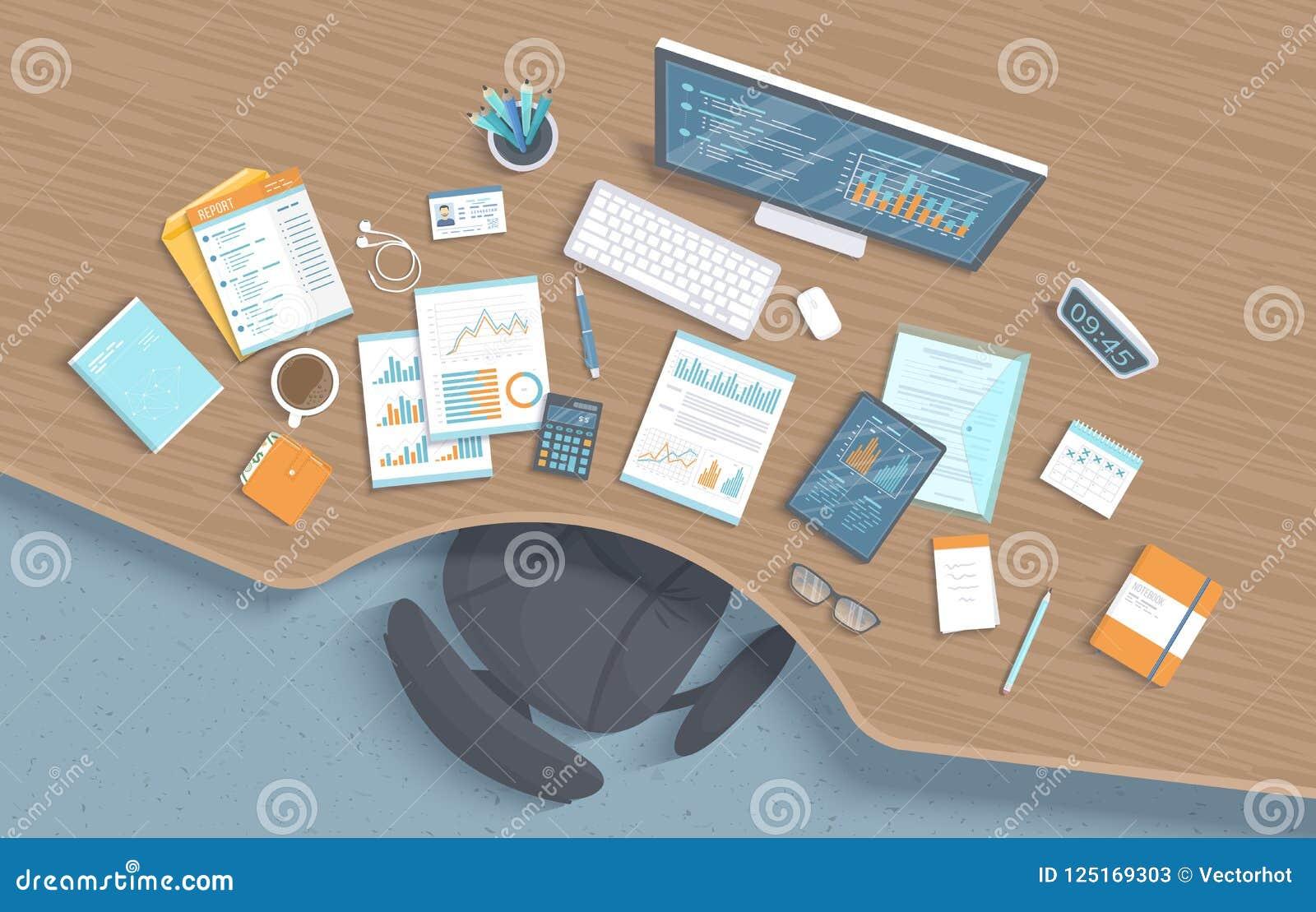 Vista superior del lugar de trabajo de madera de la oficina con la tabla, silla, fuentes de oficina de negocios, documentos, cuad