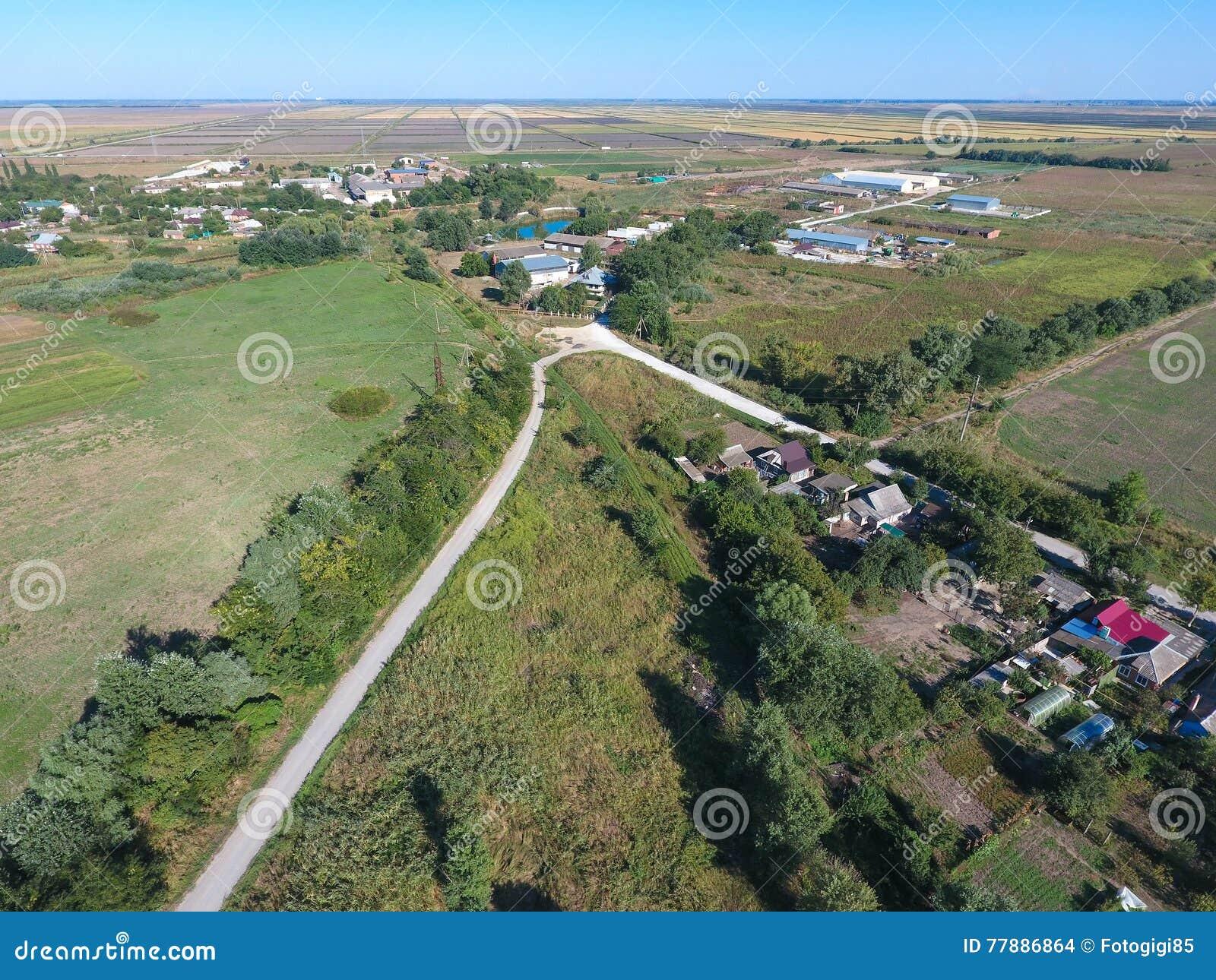 Vista Superior Del Pequeño Pueblo Foto de archivo