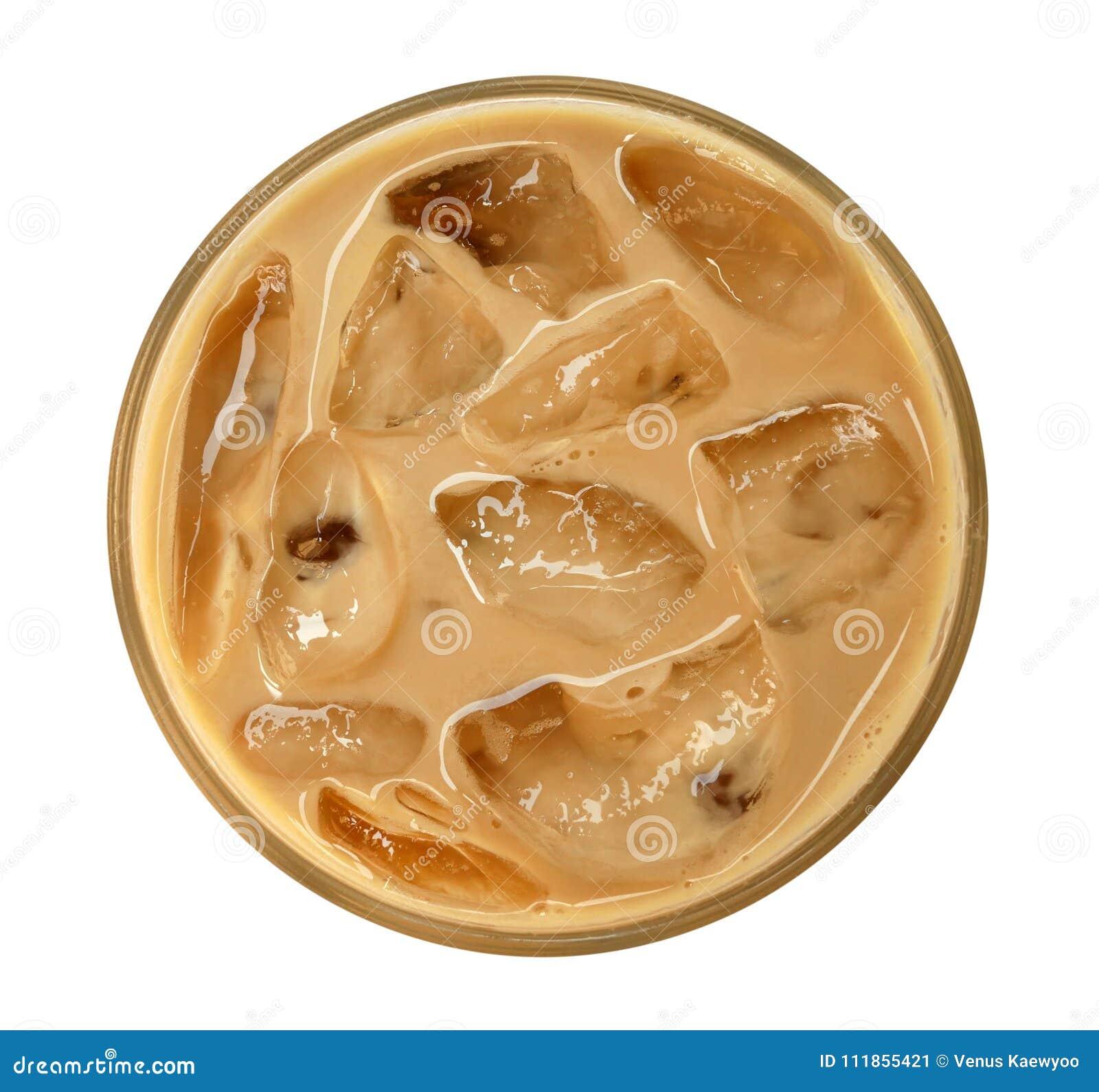 Vista superior do cappuccino do latte do café com gelo no vidro isolado no fundo branco, trajeto