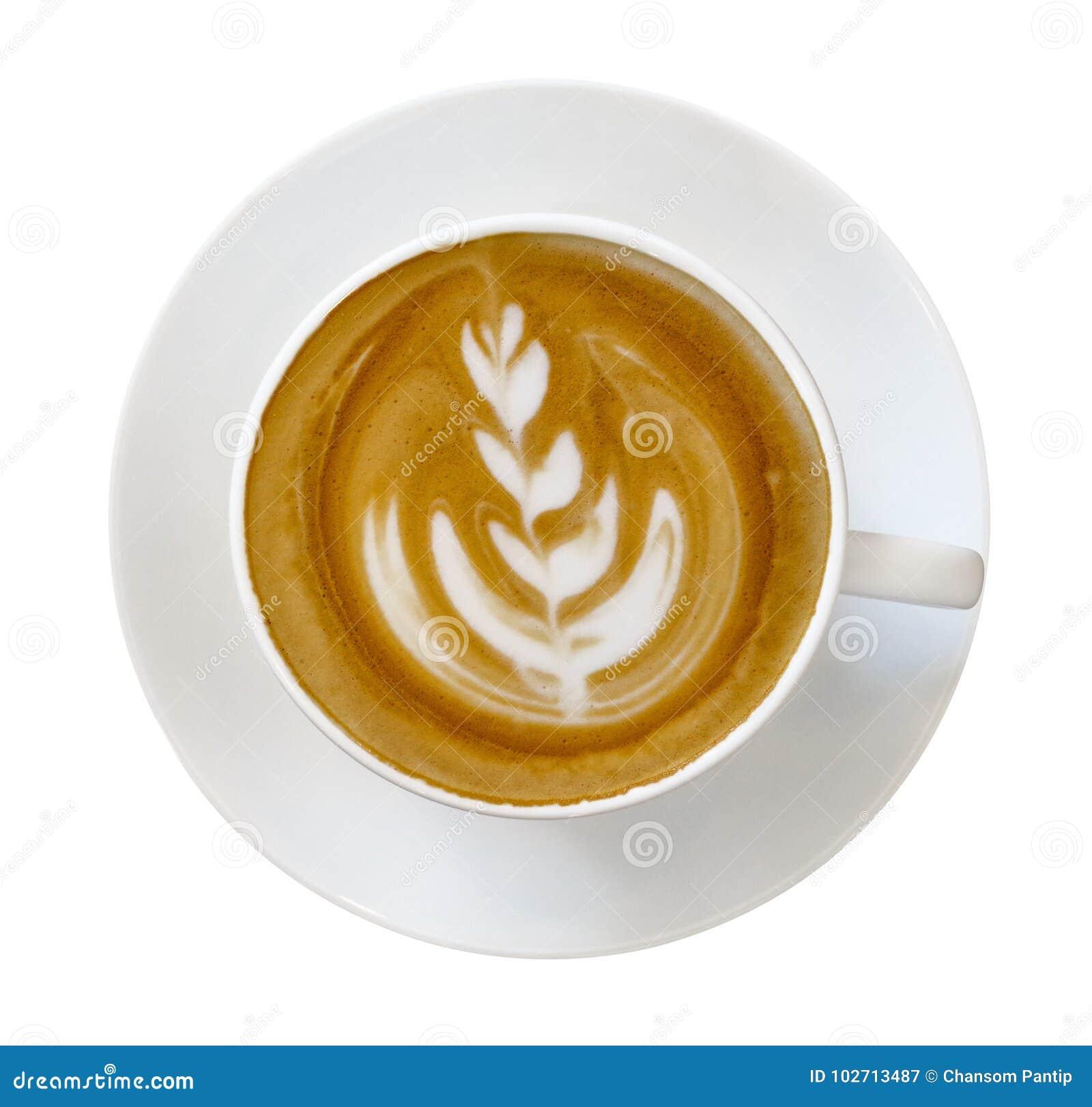 Vista superior do copo quente do cappuccino do latte do café com forma da arte do latte