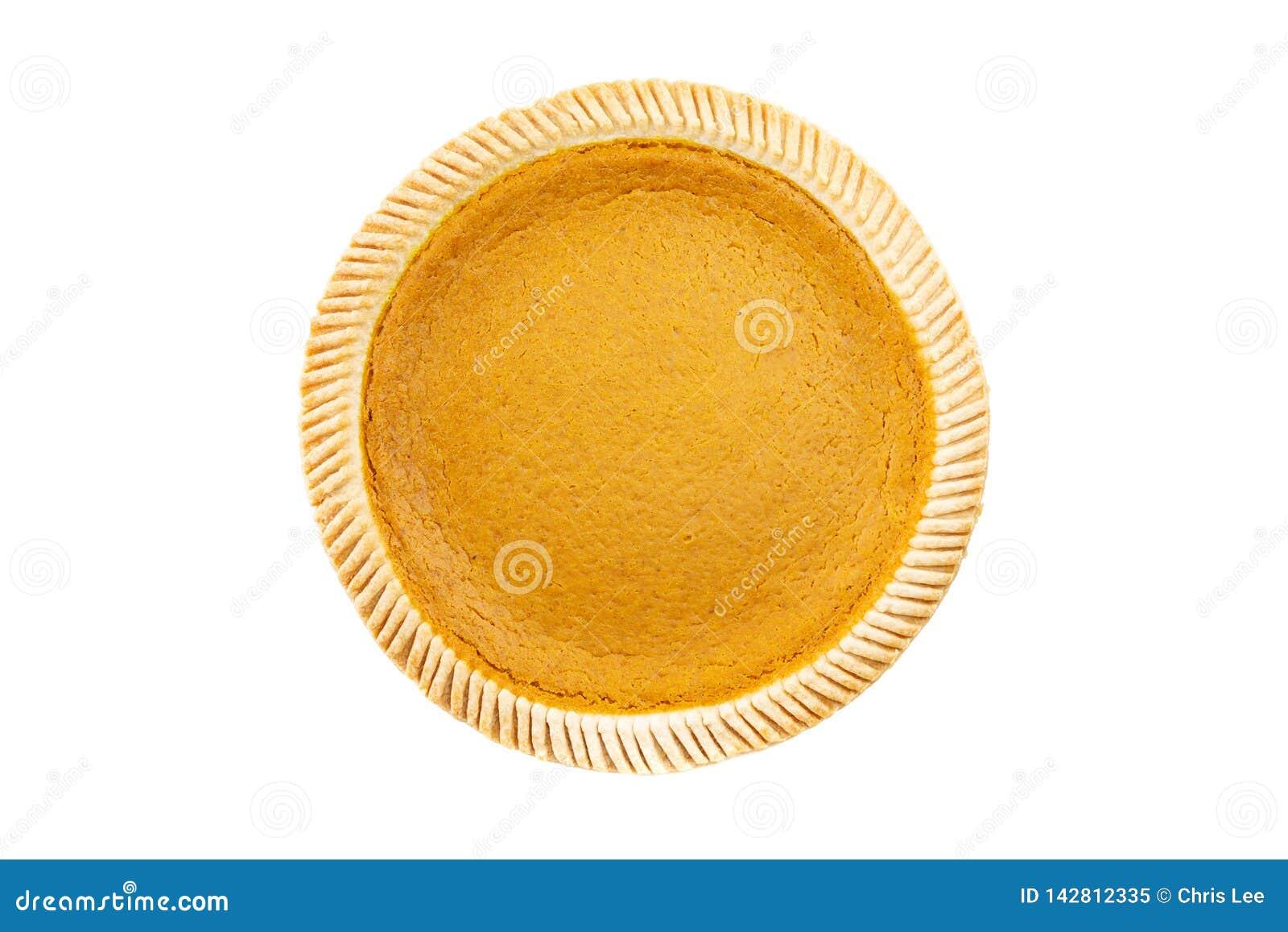 Vista superior - tarte de abóbora delicioso fresco no fundo branco
