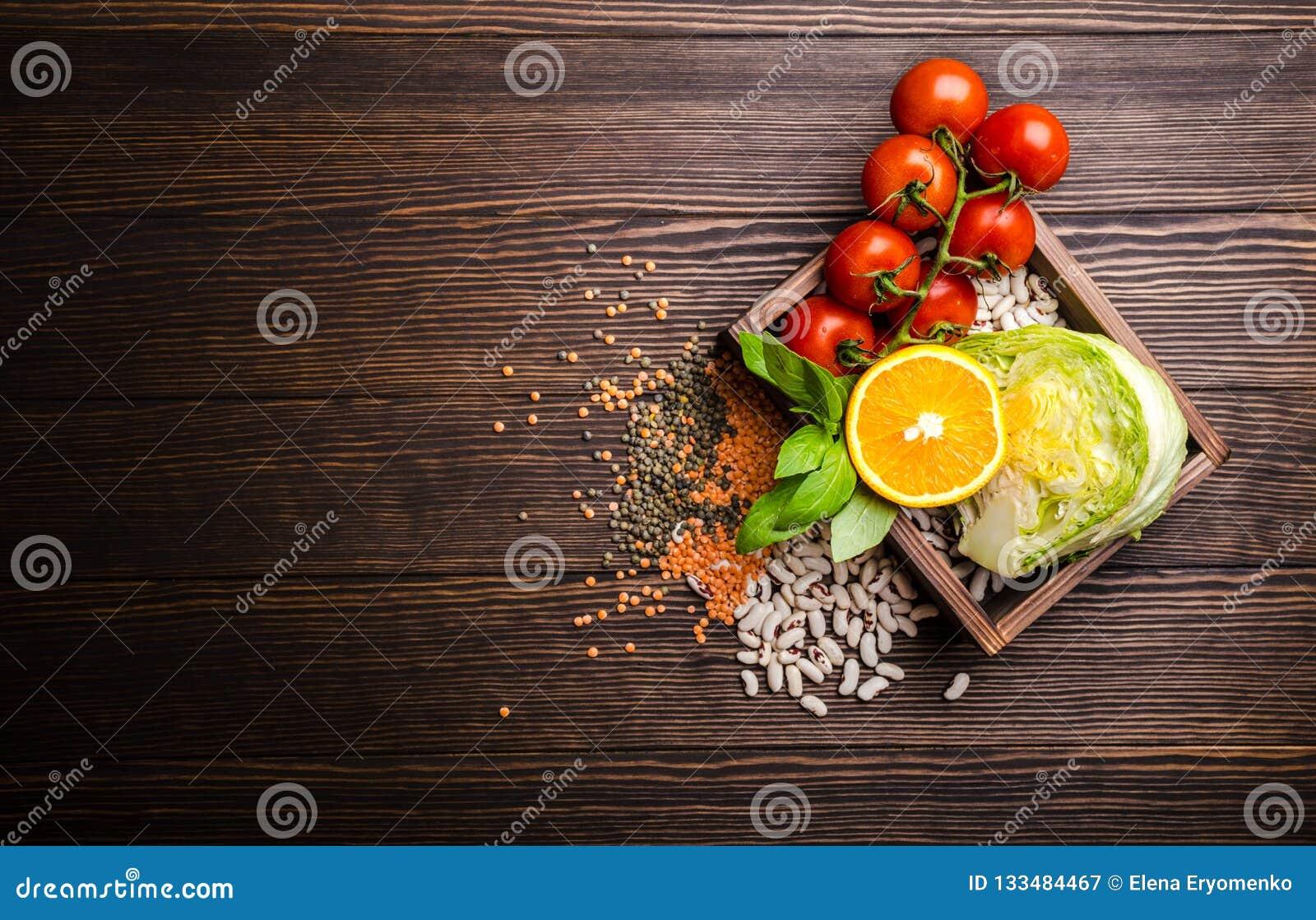 Vista superiore dell alimento di dieta sana